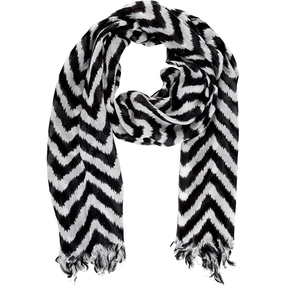 Neck Scarf Black and White Chevron Fringed - Pine Hill Collections