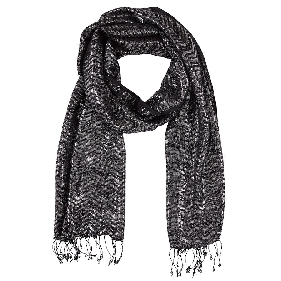 Neck Scarf Black Silver Shimmer - Pine Hill Collections
