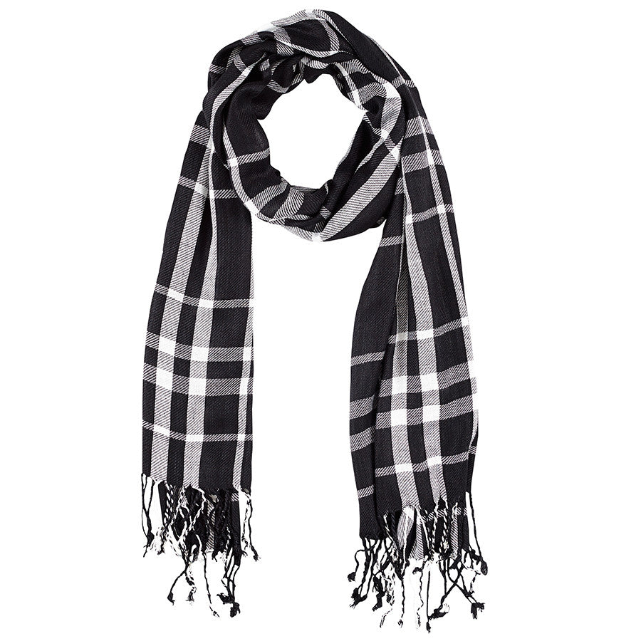 Neck Scarf Bristol Multi Plaid Fringed - Pine Hill Collections