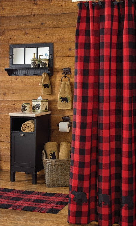 Buffalo Check Bear Applique Shower Curtain Red & Black check by Park Designs