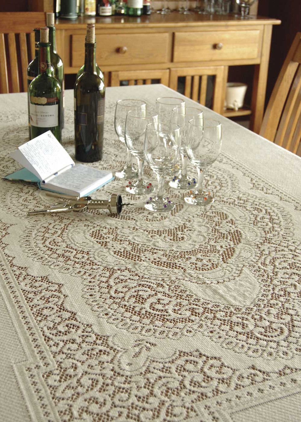 Victorian Rose Lace Tablecloth 60 X 108 Rectangle Pine Hill