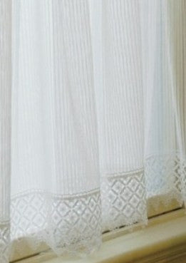 "C;helsea lace pinstripe 63"" panel with lace trim on bottom by Heritage Lace"