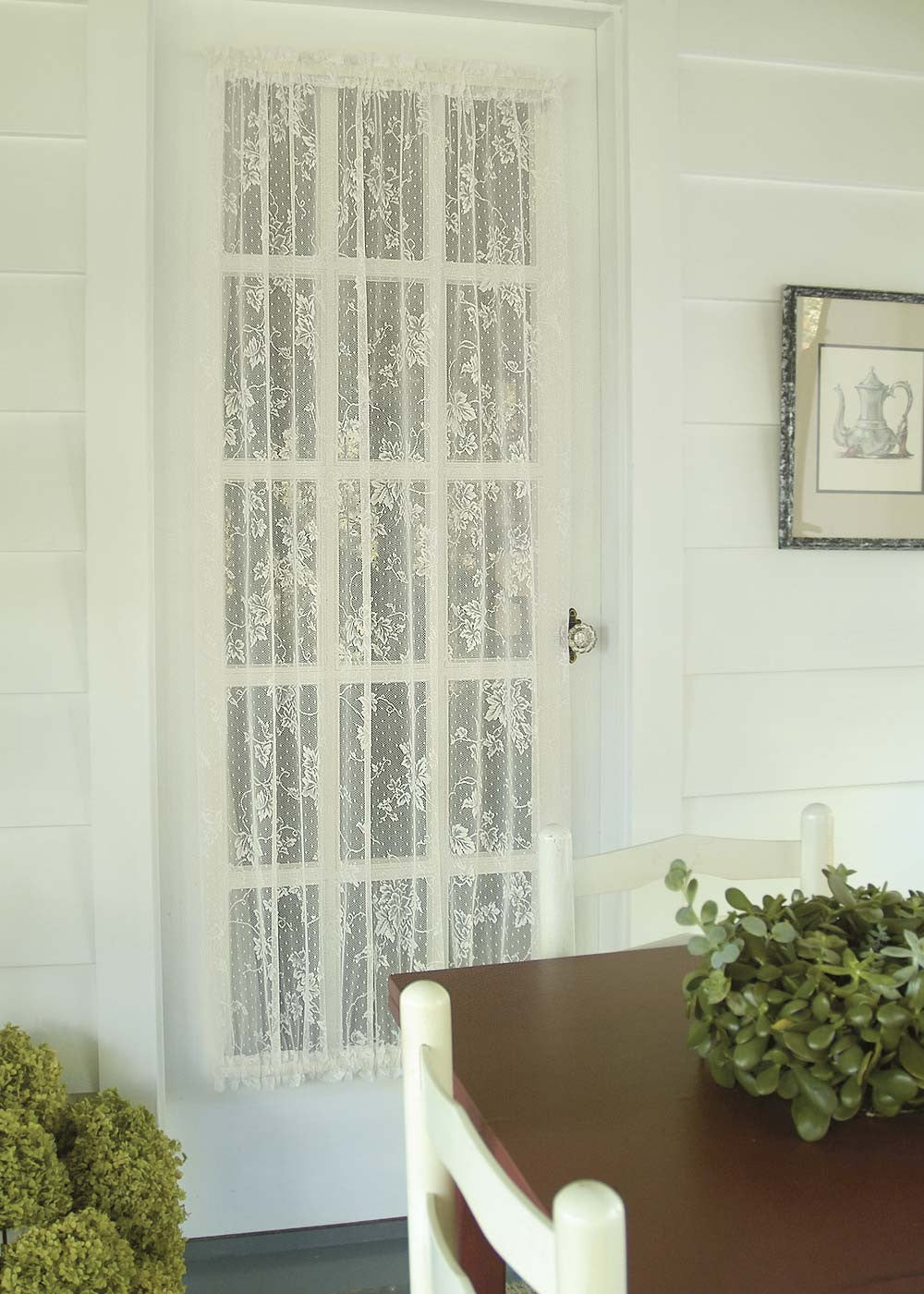 "English Ivy Lace Door Panel 48""x 72"" white or ecru Heritage Lace"