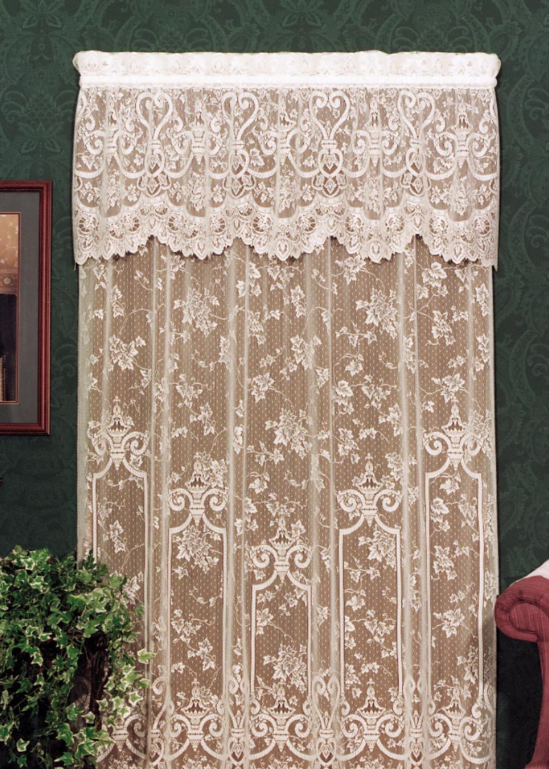 "English Ivy Lace Panel 60""x 63"" white or ecru Heritage Lace"