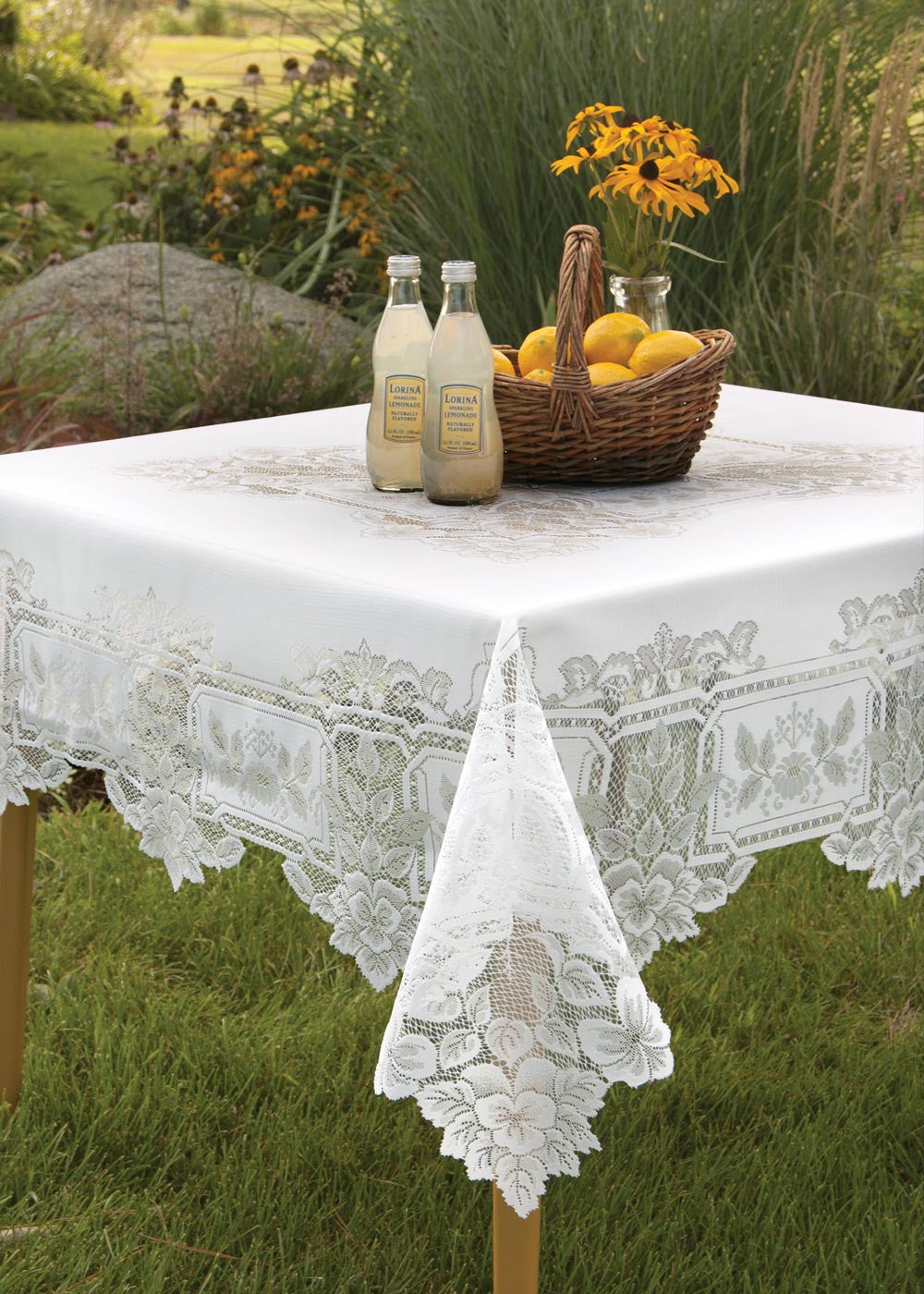 "Heirloom Lace Tablecloth 70""x 108"" Rectangle, White or Ecru"