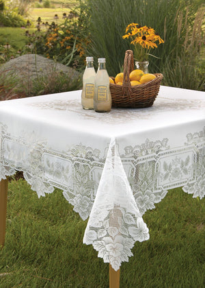 "Heirloom Lace Tablecloth 70""x 90"" Rectangle, White or Ecru"