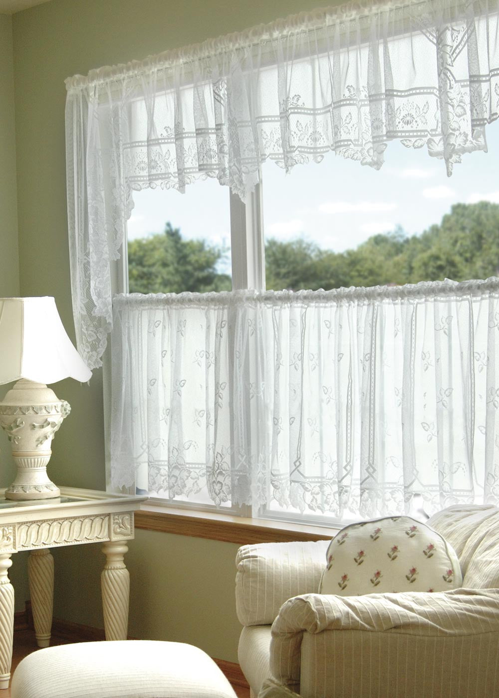 Heritage Lace Heirloom 60-Inch Wide by 22-Inch Drop Valance Ecru