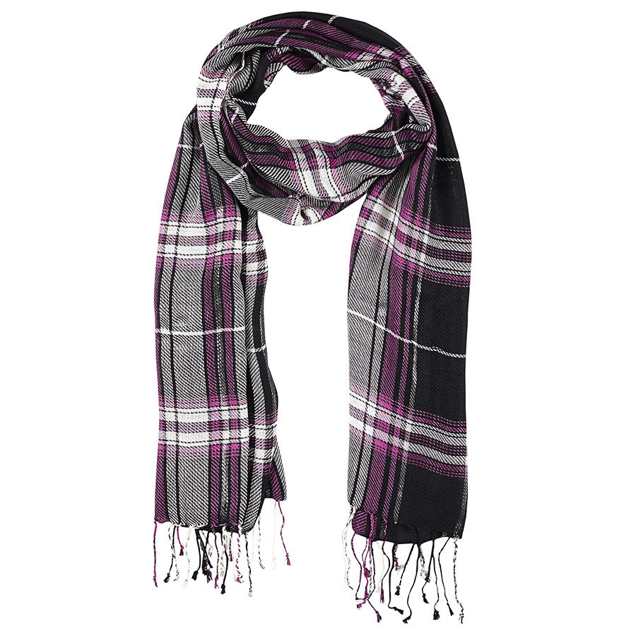 Neck Scarf Black, White & Purple Plaid - Pine Hill Collections