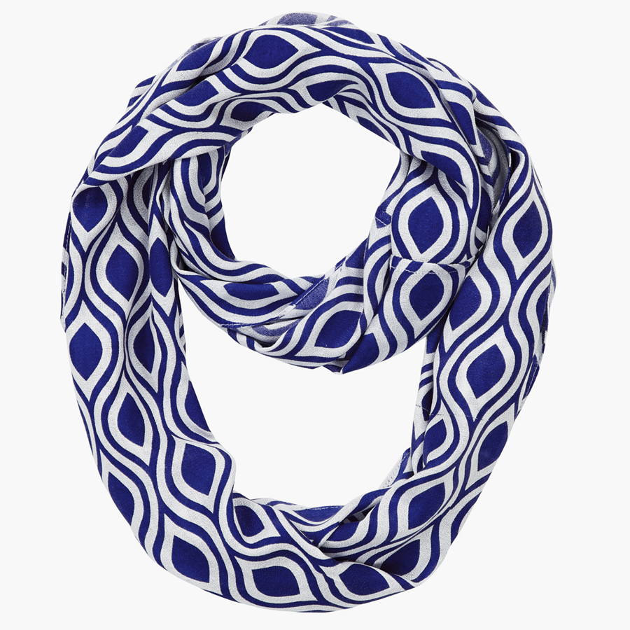 Infinity Neck Scarf Monaco Blue Ogee - Pine Hill Collections
