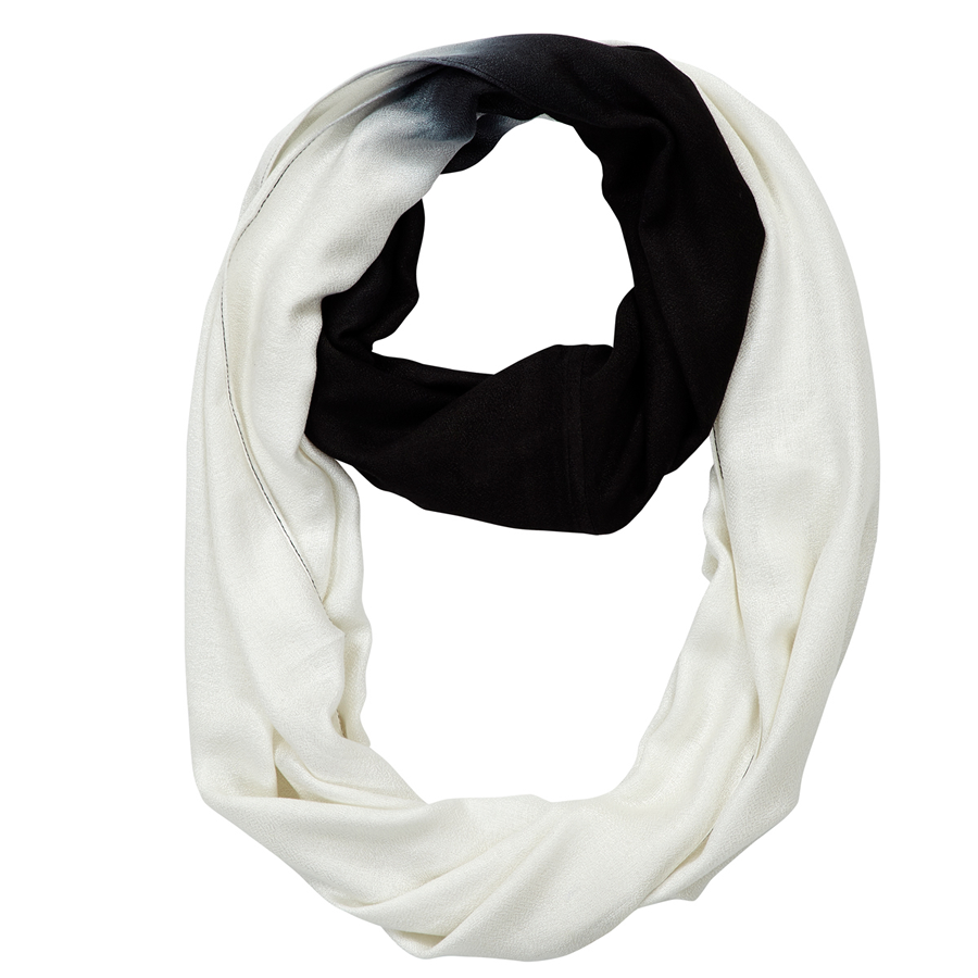 Infinity Neck Scarf Black and White Ombre - Pine Hill Collections