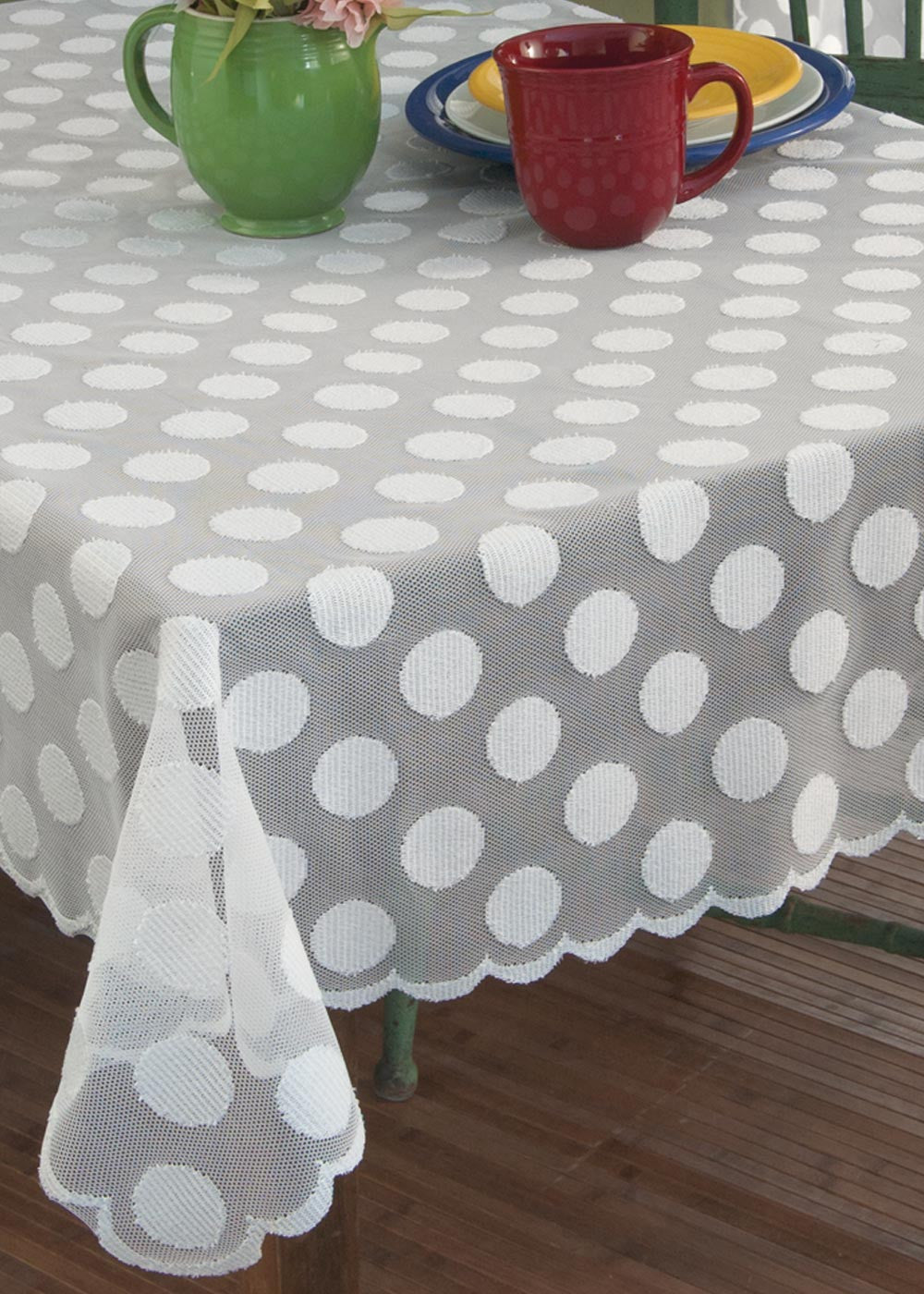 "Polka Dot Lace Tablecloth 58""x 58"" by Heritage Lace"
