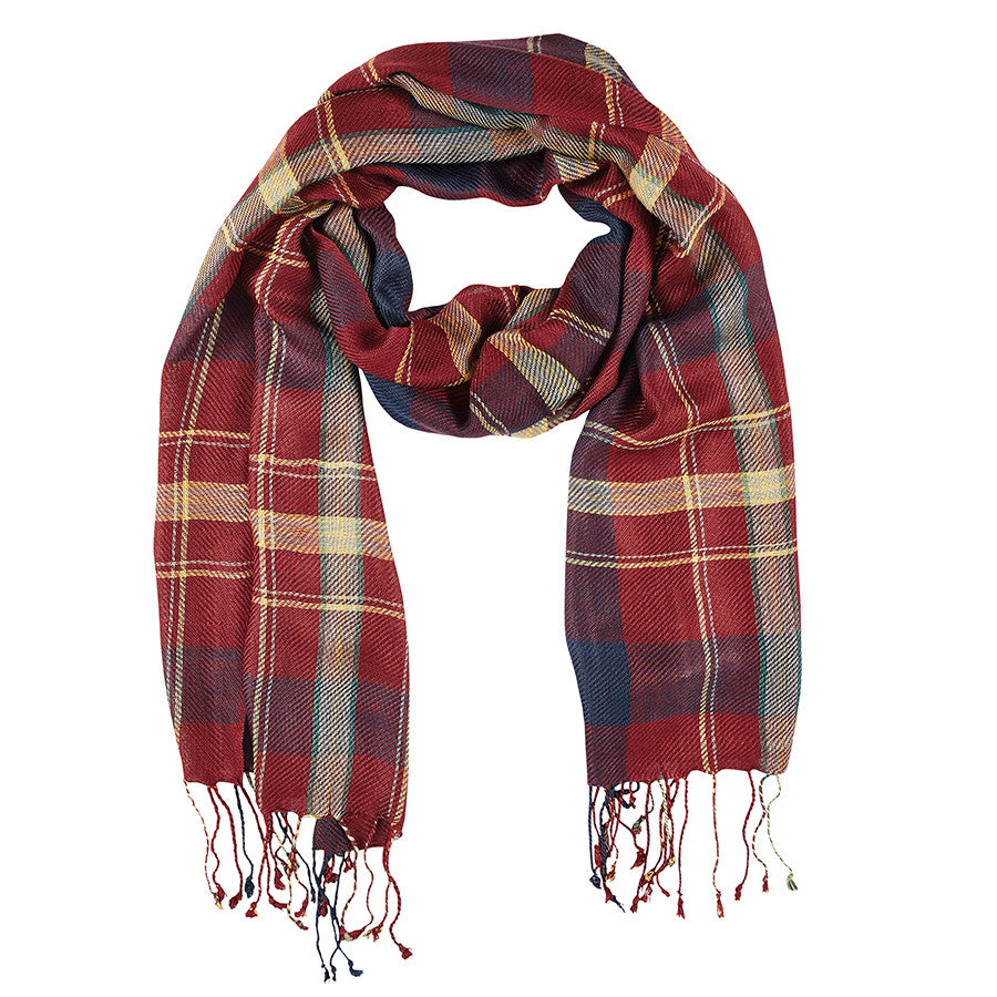 Neck Scarf Princeton Burgundy Multi Plaid - Pine Hill Collections