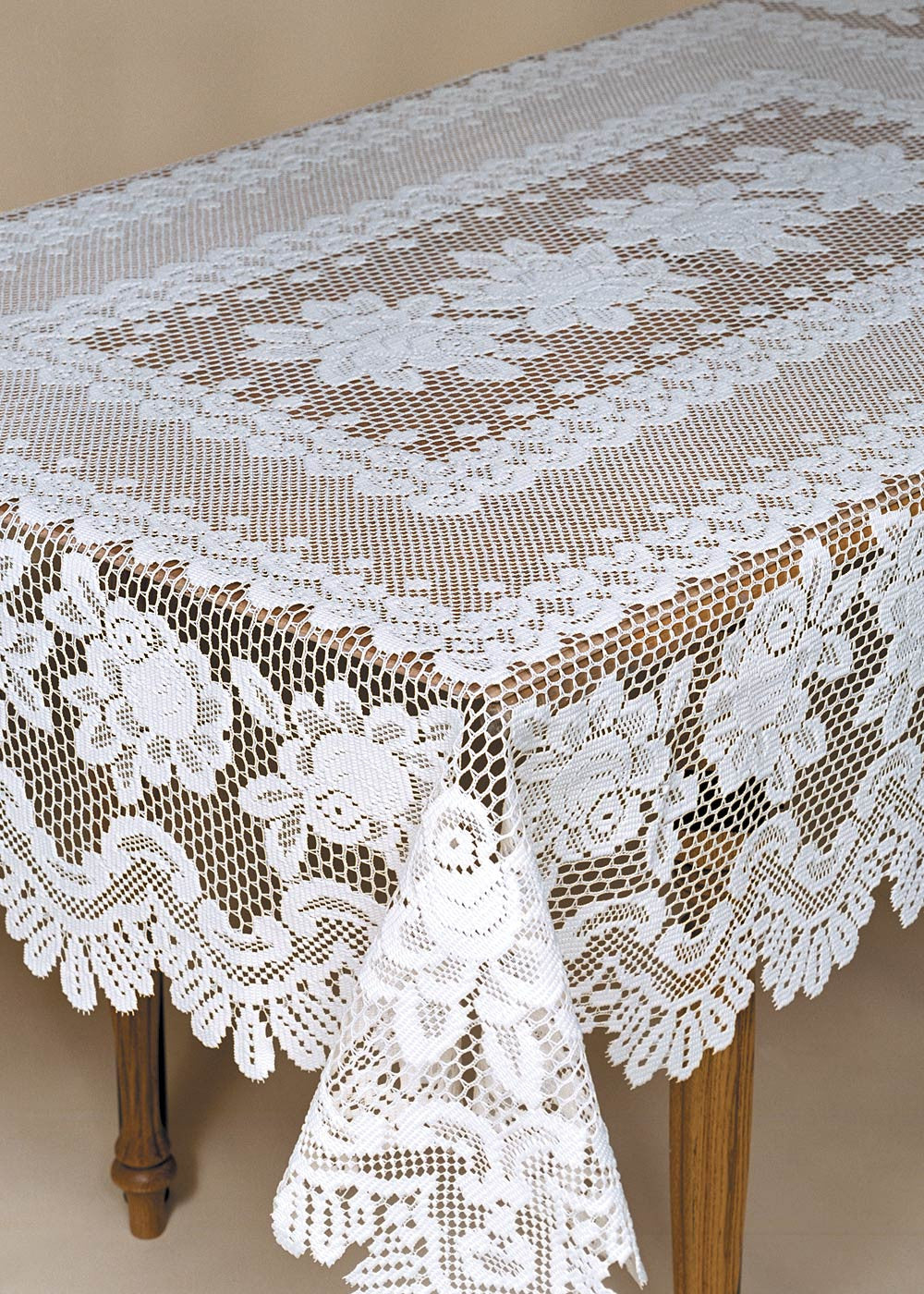 "Rose Lace 52"" x 72"" Tablecloths Oval or Rectangle"