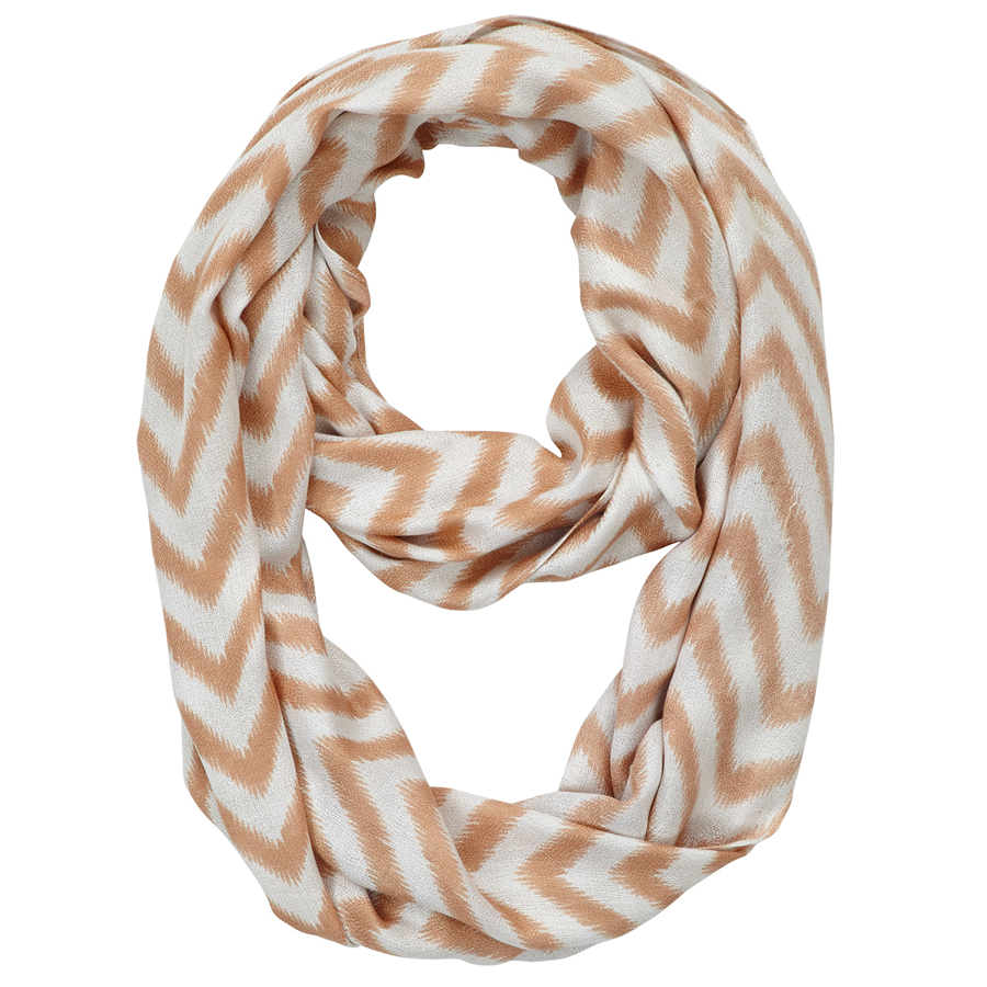 Infinity Neck Scarf Tan and White Chevron - Pine Hill Collections