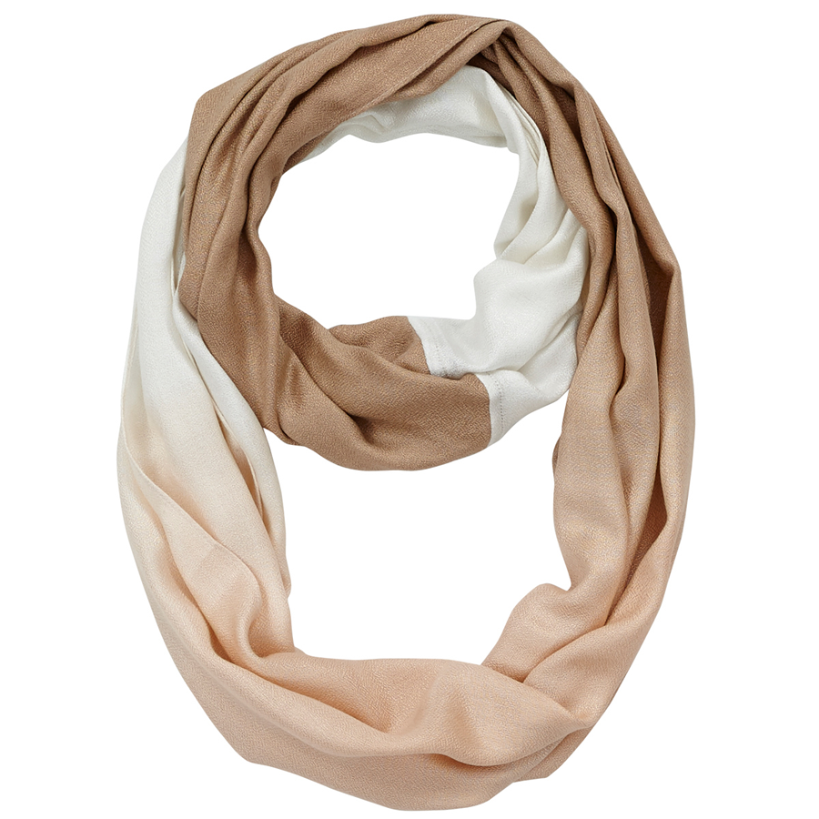 Infinity Neck Scarf Tan and White Ombre - Pine Hill Collections