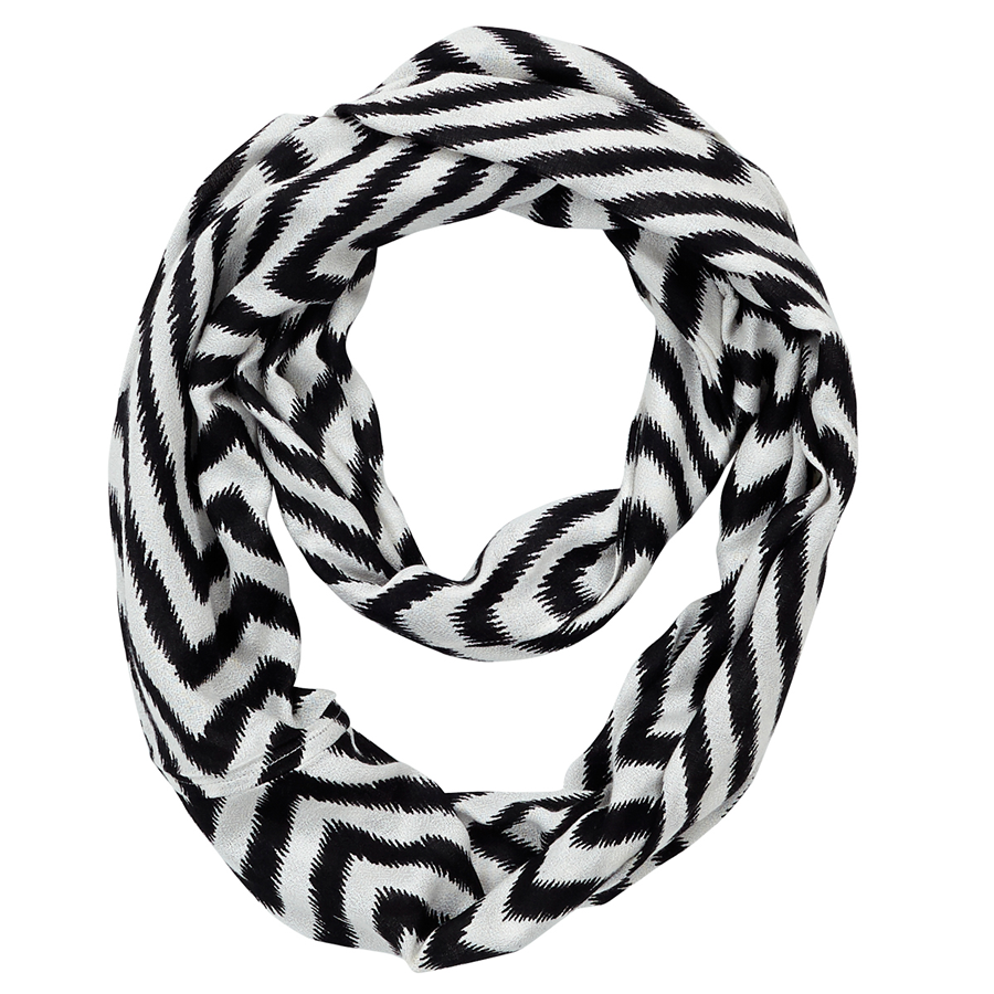 Infinity Neck Scarf Black and White Chevron - Pine Hill Collections