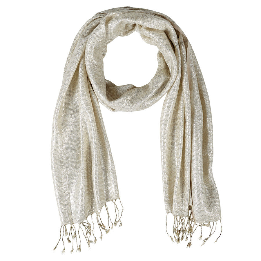 Neck Scarf Creme Gold Shimmer - Pine Hill Collections