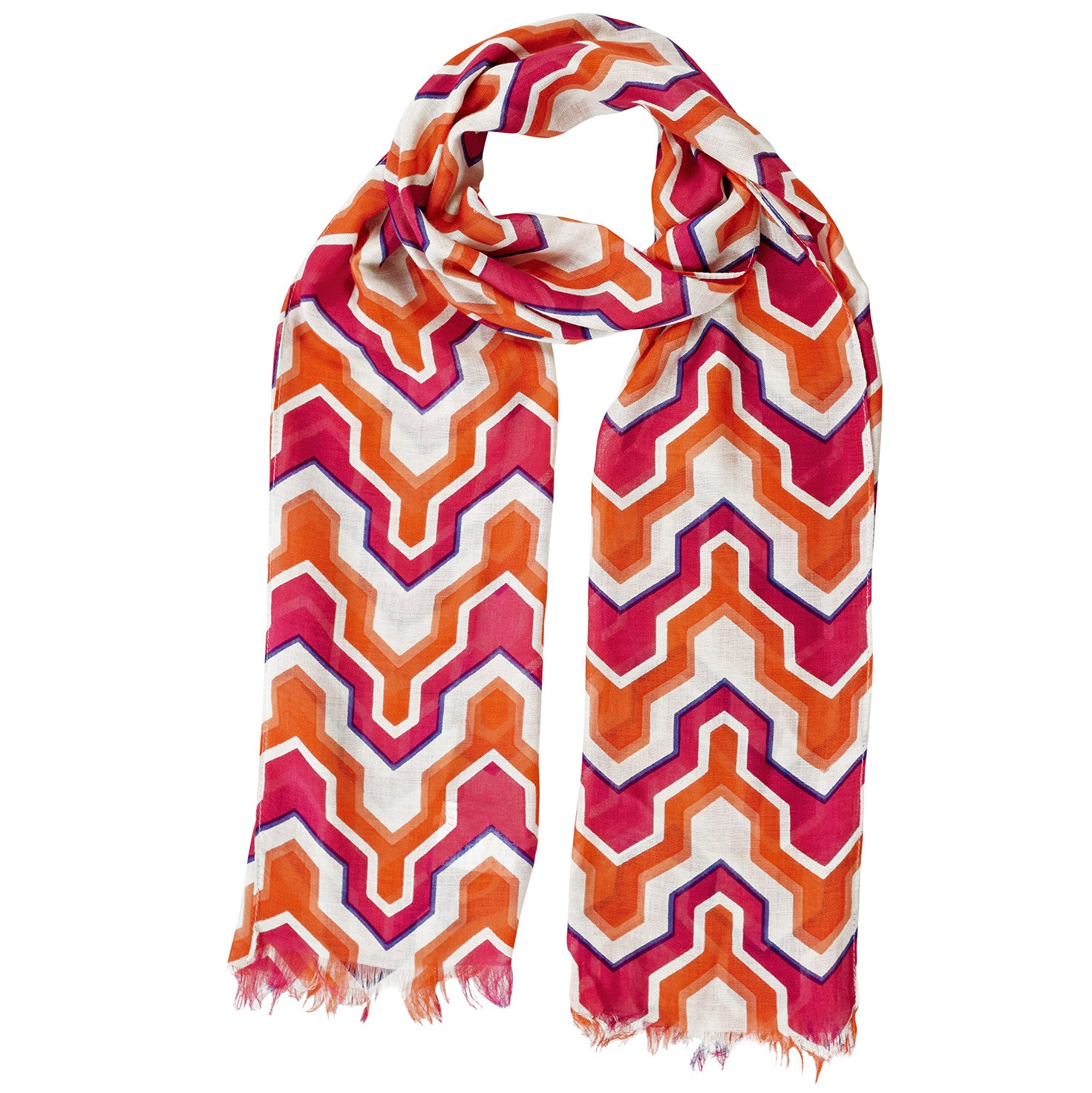 Neck Scarf Somerset Print Fringed - Pine Hill Collections
