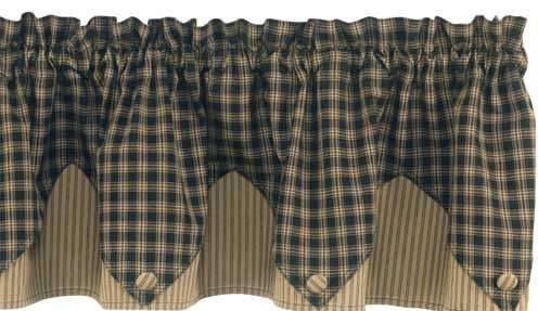 Sturbridge Black Lined Point Valance - Pine Hill Collections