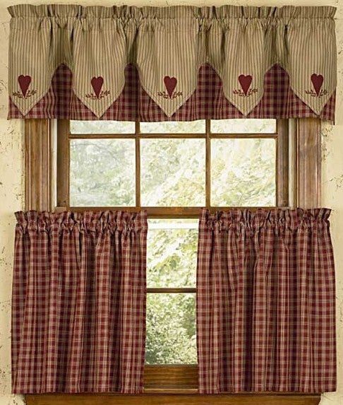 Sturbridge Embroidered Heart Point Valance Wine - Pine Hill Collections