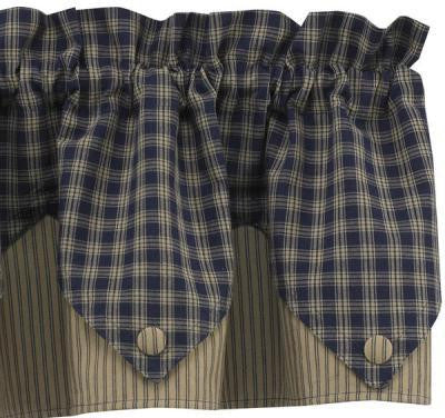 Sturbridge Navy Lined Point Valance - Pine Hill Collections
