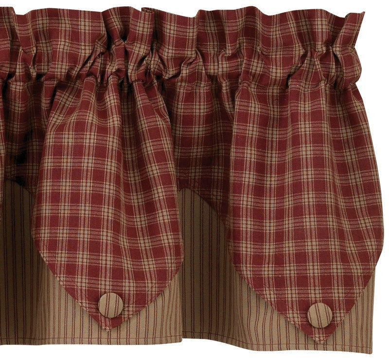 Sturbridge Wine Lined Point Valance - Pine Hill Collections