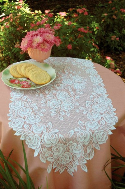 "Tea Rose Lace Runner 14""x 36"" White Ecru Heritage Lace"