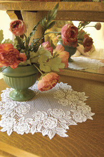 "Tea Rose Lace 15"" Round Doily white or ecru Heritage Lace"
