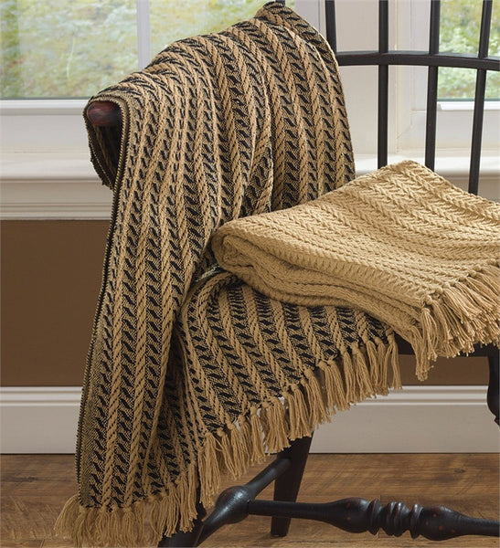 Cotton Cable Throw Black And Tan 50 Quot X 60 Quot Pine Hill