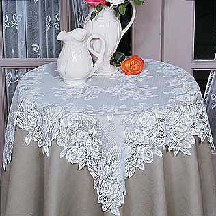 "Tea Rose Lace Table Topper 30""x 30"" Heritage Lace"