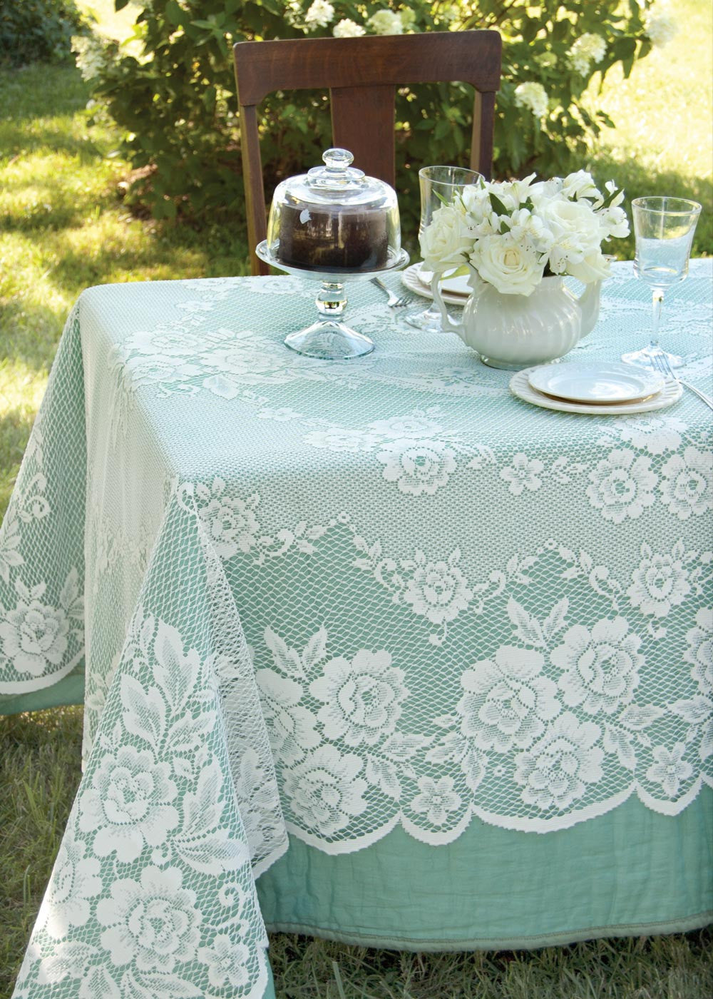 "Victorian Rose Lace Tablecloth 60"" x108"" Rectangle Heritage Lace"