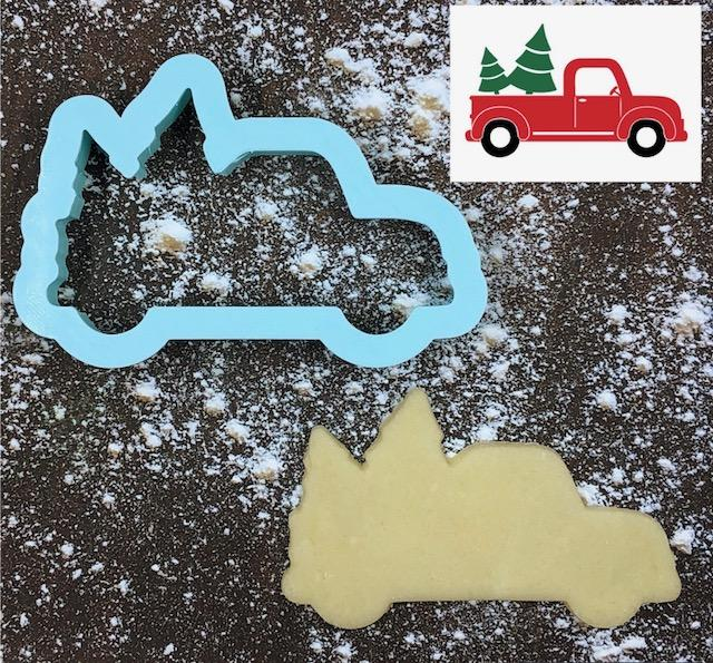 Christmas Tree Truck Cookie Cutter with Cookie