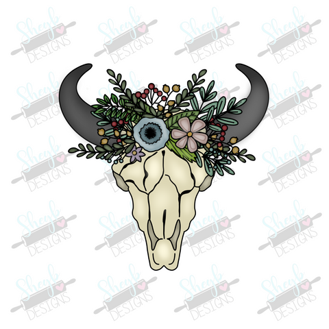 Floral Cow Skull Cookie Cutter