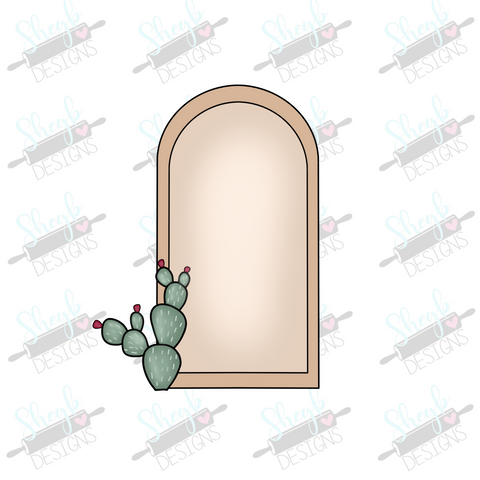 Prickly Pear Tall Half Oval Cookie Cutter