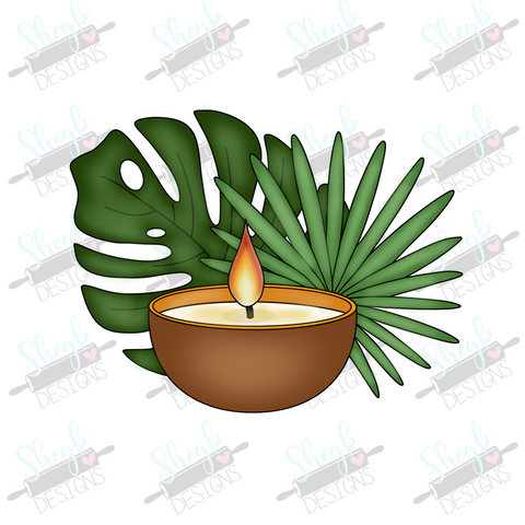 Spa Leaves and Candle Cookie Cutter
