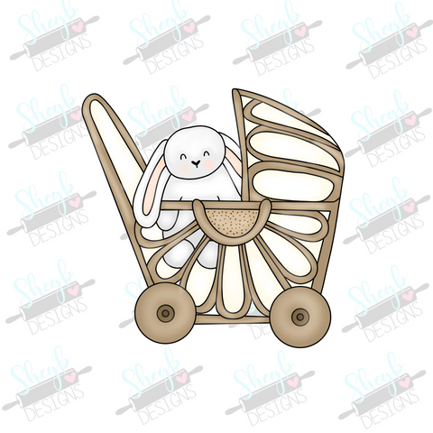Wicker Bunny Pram Cookie Cutter