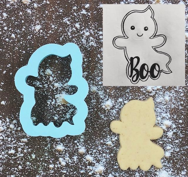 Boo Ghost Cookie Cutter with Cookie