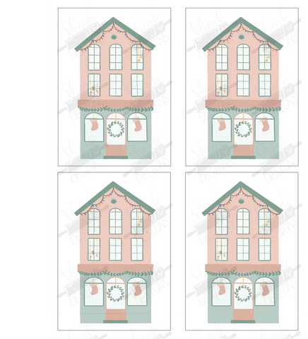 Christmas House Cookie Card