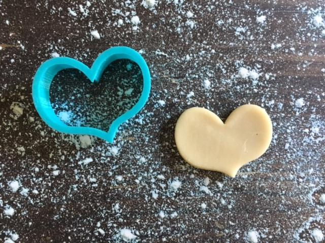 Chubby Wonky Heart Cookie Cutter with Cookie