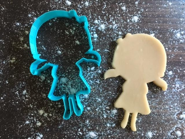 Cute Girl Cookie Cutter with Cookie