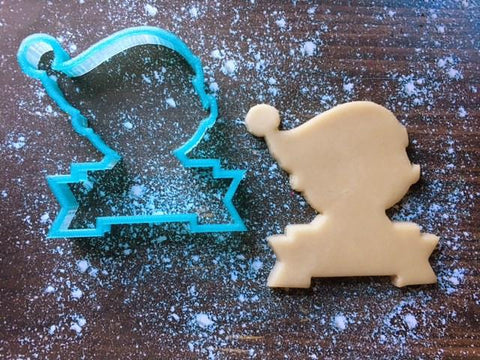 Elf Head PYO/Place Card Cookie Cutter with Cookie