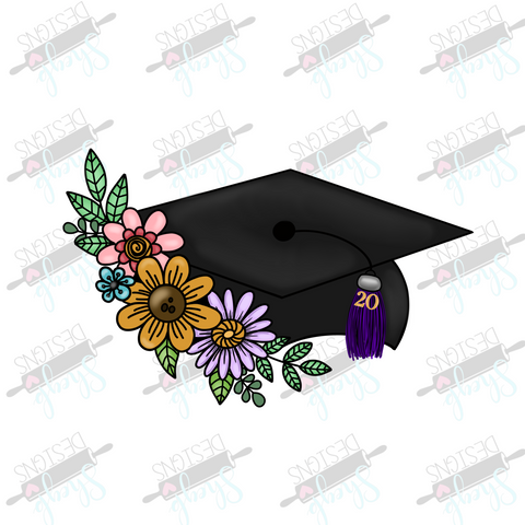 Floral Grad Cap Cookie Cutter