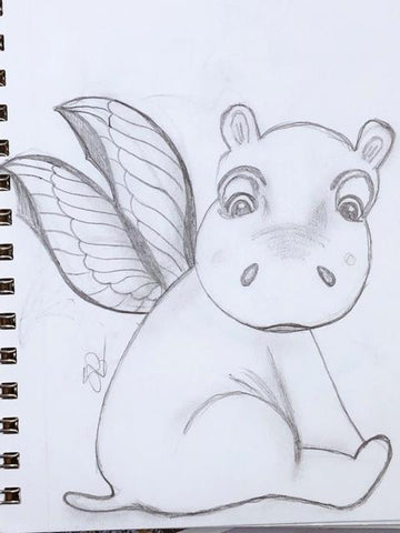 Flutter the Hippo Cookie Cutter Sketch