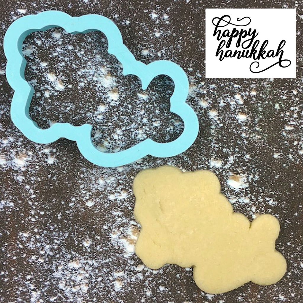 Happy Hanukkah Cookie Cutter with Cookie