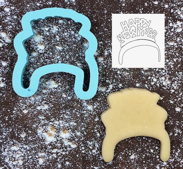 Happy New Year Headband Cookie Cutter with Cookie