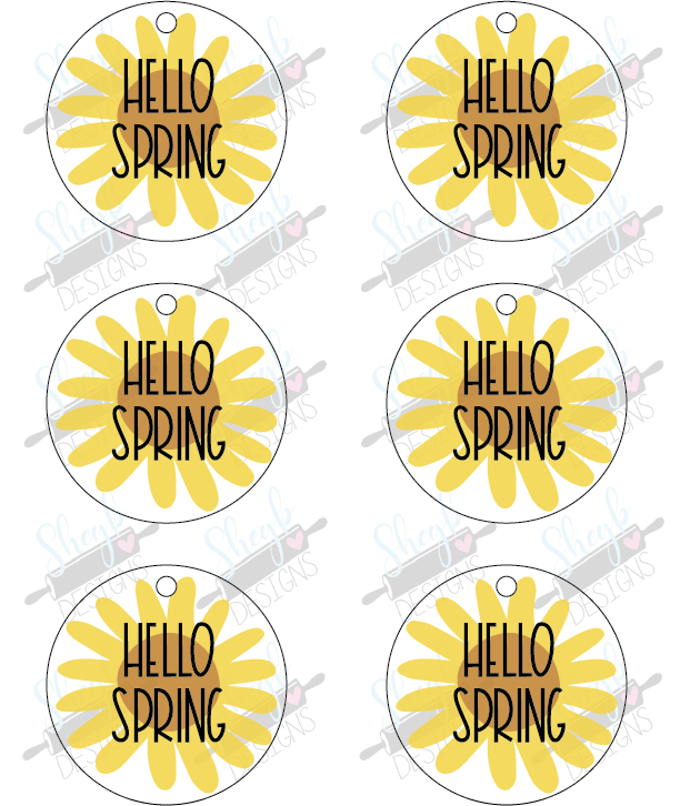 Hello Spring Sunflower Cookie Tag