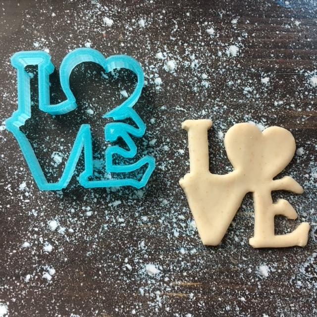 Love Cookie Cutter with Cookie