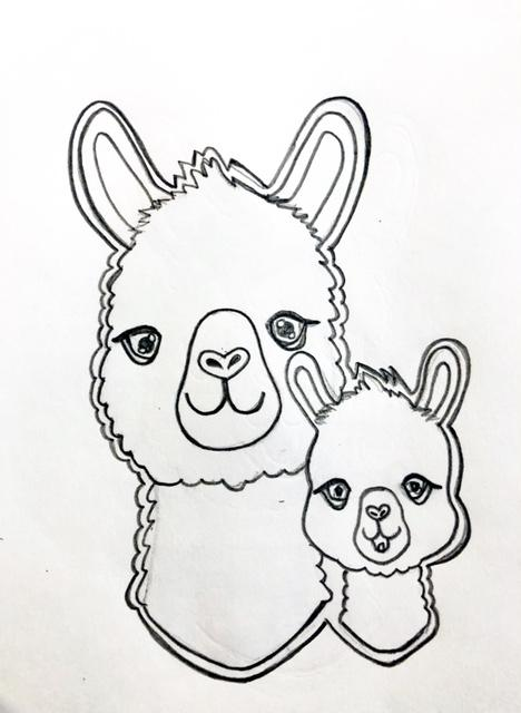 Mama and Baby Alpaca Cookie Cutter Sketch