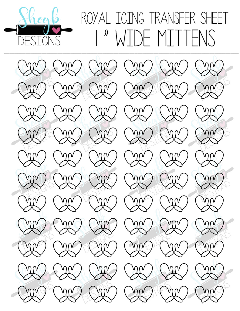 One  Inch Mittens Transfer Sheet