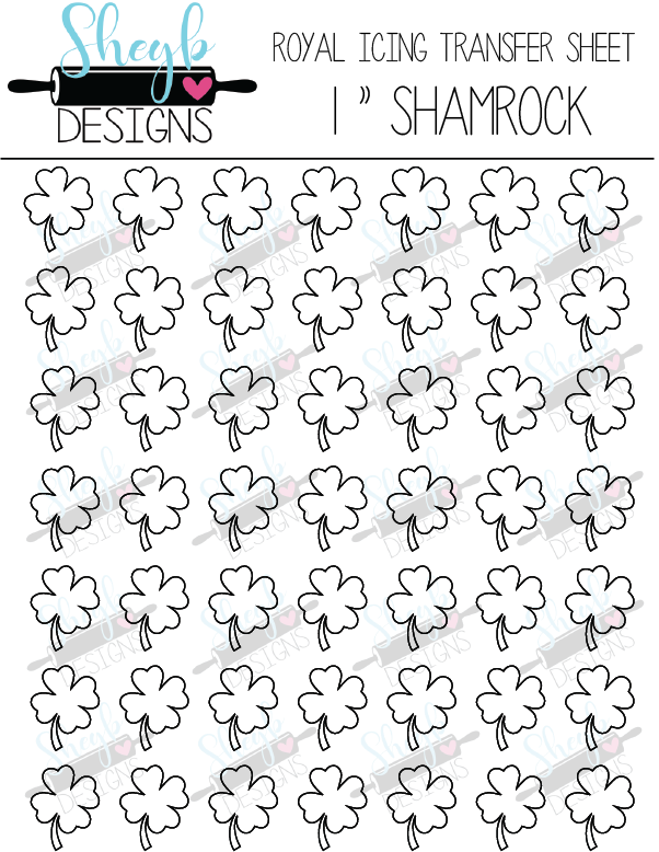 One Inch Shamrock Transfer Sheet